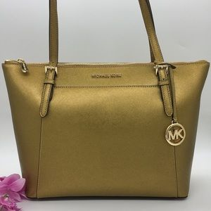 Michael Kors Ciara Old Gold Lg TZ Tote Leather